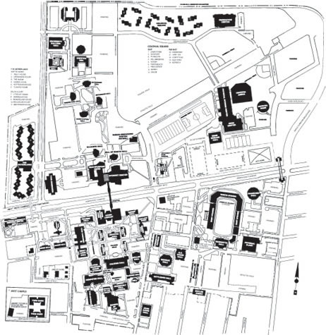 The Hofstra campus map.